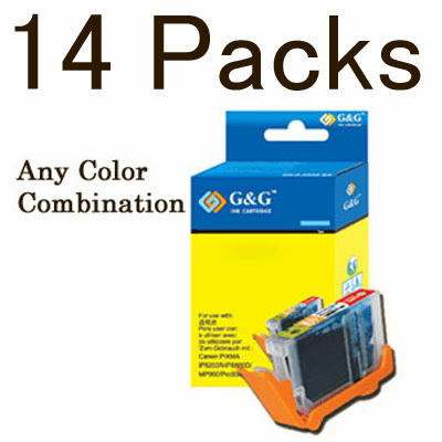 Canon CLI-8, PGI-5BK Value Pack - 14 Cartridges, No Chip, any color selection