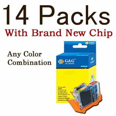Canon CLI-8, PGI-5BK Value Pack - 14 Cartridges, WITH Chip, any color selection