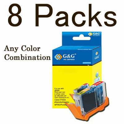 Canon CLI-8, PGI-5BK Value Pack - 8 Cartridges, No Chip, any color selection