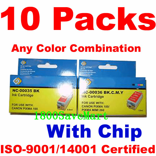 Canon PGI-35, CLI-36 Value Pack - 10 Cartridges, With Chip, any color selection