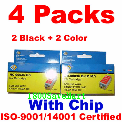 Canon PGI-35, CLI-36 Value Pack - 4 Cartridges, With Chip, any color selection
