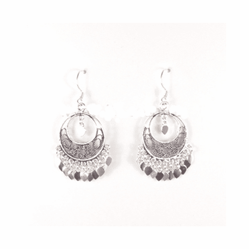 Classy Filigree Dangle Round Sterling Silver Earring