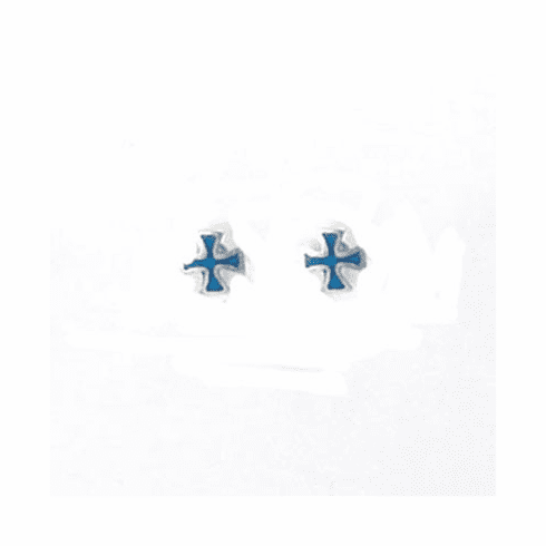 Cute Amber Inlay Cross Sterling Silver Stud Earrings