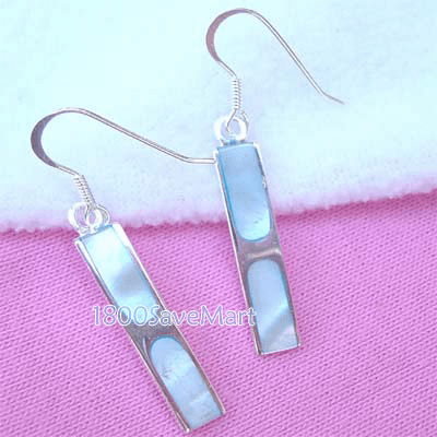 Cute Blue Mother Of Pearl Inlay Bar Sterling Silver Earrings