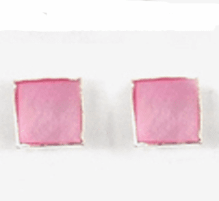 Cute Mother Of Pearl Square Sterling Silver Stud Earrings