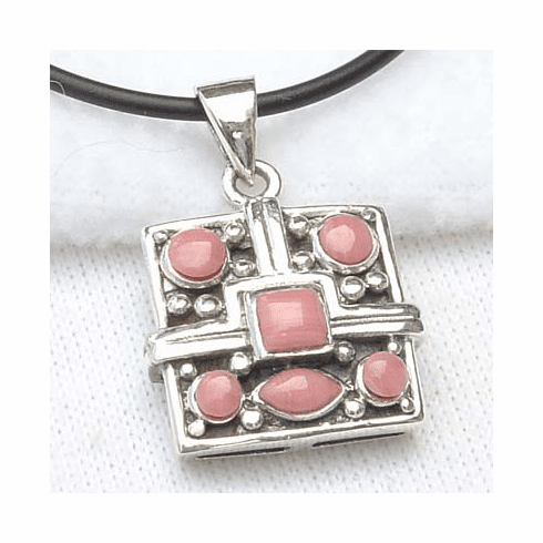 Cute Square Pink Coral Inlay Sterling Silver Pendant-PJ198
