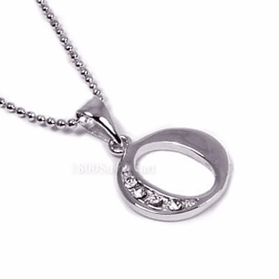 CZ Zirconia Sterling Silver Pendant Letter O -PJAO