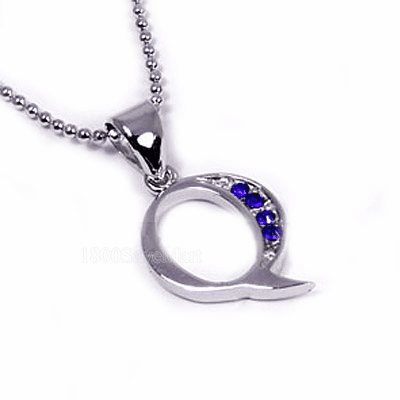 CZ Zirconia Sterling Silver Pendant Letter Q -PJAY