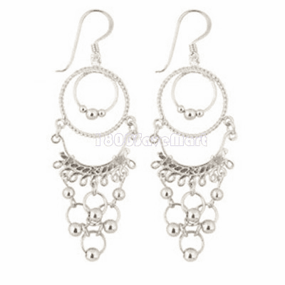 Dangle 925 Solid Sterling Silver Round and bead Earrings EJBG