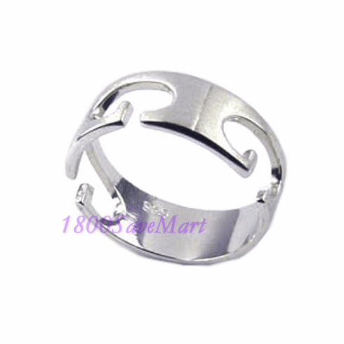 Designed See-Thru Sterling Silver Ring-7 RJ247
