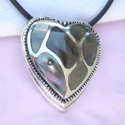Elegant Mosaic Shell MOP Heart Sterling Silver Pendant