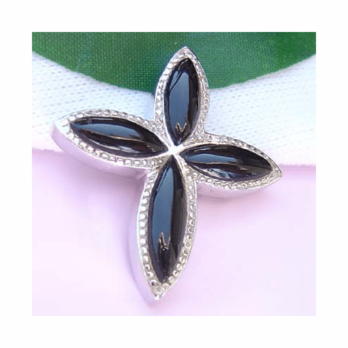 Elegant Onyx Cross/Flower Sterling Silver Slide Pendant
