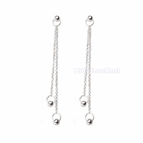 Elegant Two chain Sterling Silver dangle Earring EJAV