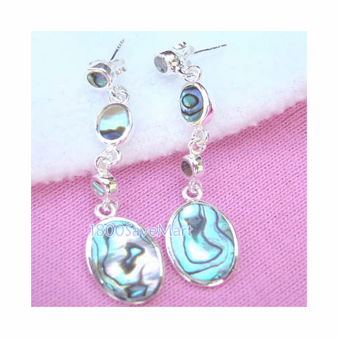 Exquisite MOP Round.Sterling Silver Dangle Earrings