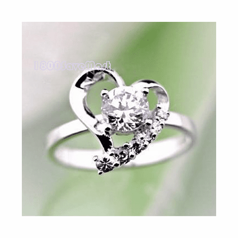 Gorgeous CZ Inlay Heart Sterling Silver Ring RYAE