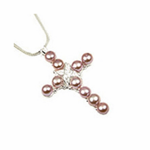 Gorgeous Pearl/ CZ Inlay Cross Sterling Silver Pendant-PJ219