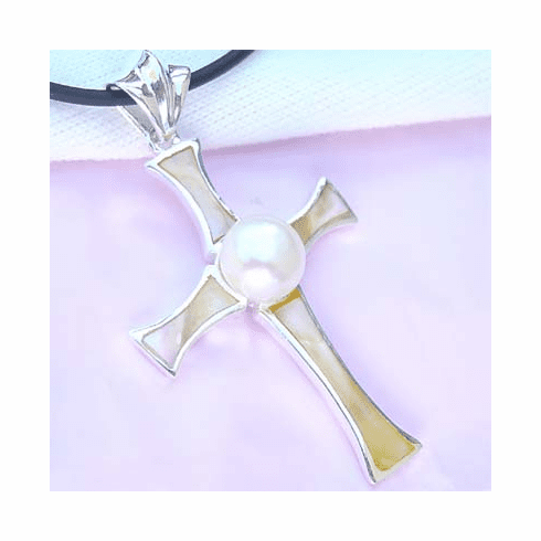 Gorgeous Sparkling Pearl Cross Sterling Silver Pendant