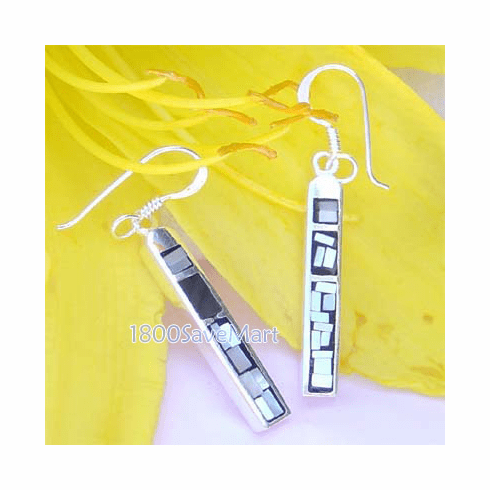 Gray Mother Of Pearl Inlay Bar 925 Silver Earrings