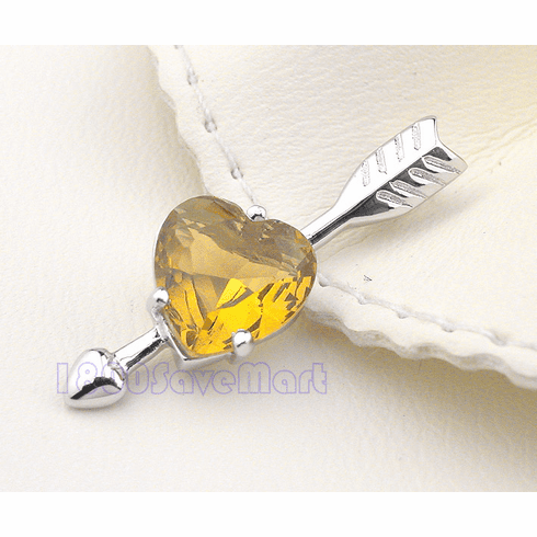 Hart though sn  Champagne Crystal Sterling Silver Pendant