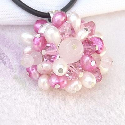 Imitation Pearl Flower Sterling Silver Pendant