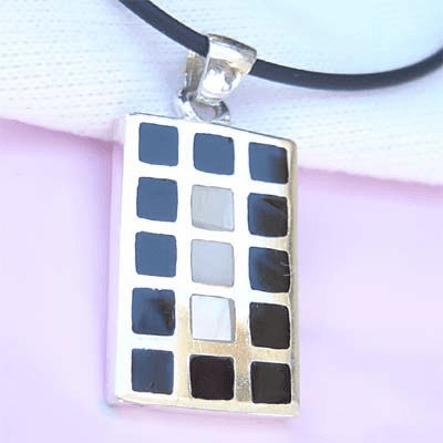 Inlay Black Onyx Rectangle Sterling Silver Pendant