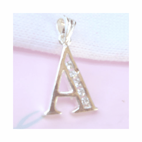 Letter A CZ  Initial Sterling Silver Pendant