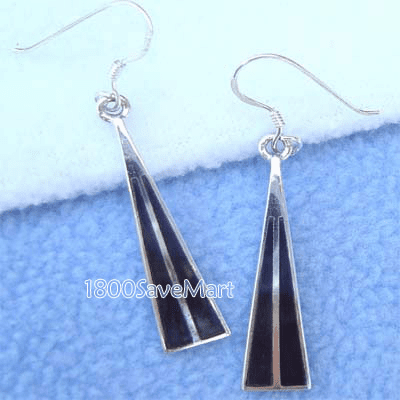 Long Mother Of Pearl Inlay Silver Dangle Earrings