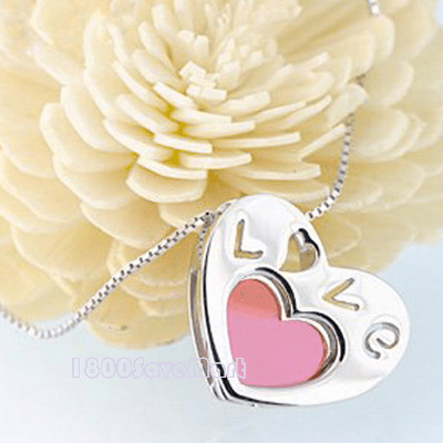Love Heart Glass Sterling Silver Pendant PYAF