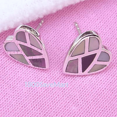Mother Of Pearl Facet Hart Sterlng Silver Earrings