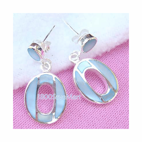 Mother Of Pearl Facet Inlay ??Silver Earrings