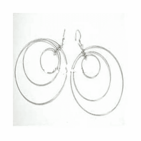 Must Have 75mm Triple Round Dangle Sterlng Silver Earrings