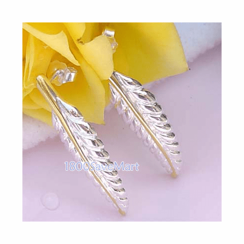 Nature Leaf Two-Tone Gold/Sterling Silver Earrings-ET27