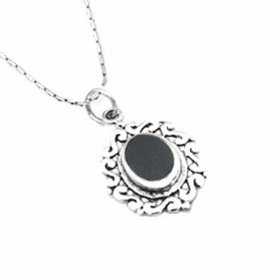 Onyx Inlay Sterling Silver Gothic Filigree Pendant-PJ217