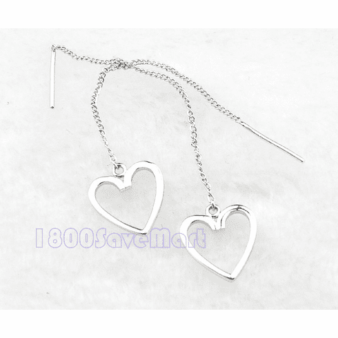 Open Heart Sterling Silver Long Drop Earrings  EY106