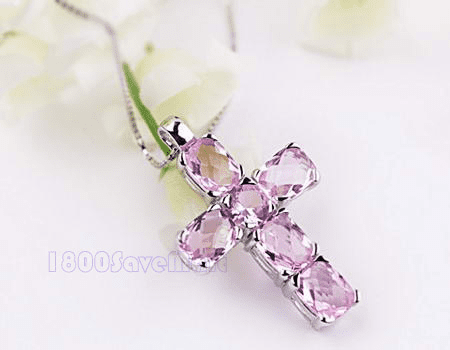 Pink Crystal Big Cross Silver Pendant