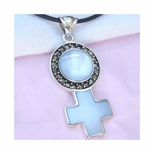 Pink MOP/Marcasite Cross/Round Sterling Silver Slide Pendant