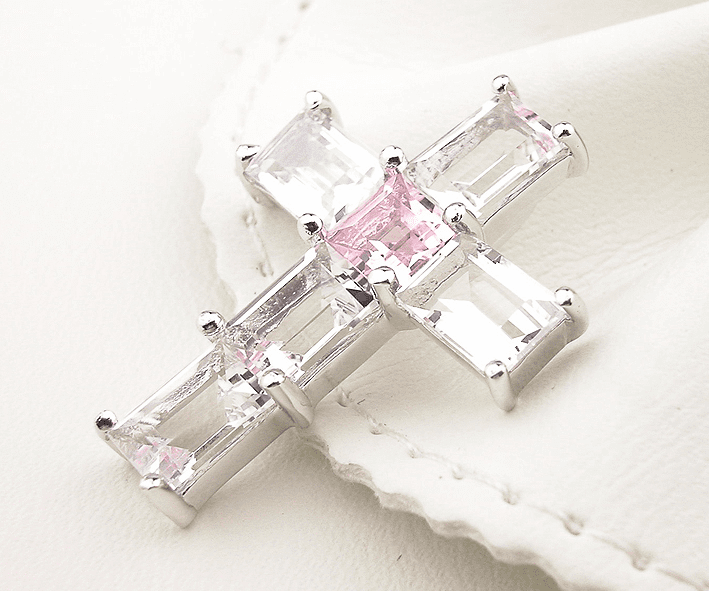 Pink & White CZ Cubic Zirconia Cross Silver Pendant