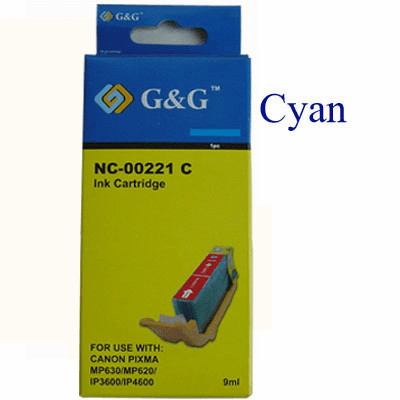 Premium Canon CLI-221C Compatible Cartridge - Cyan, No CHIP