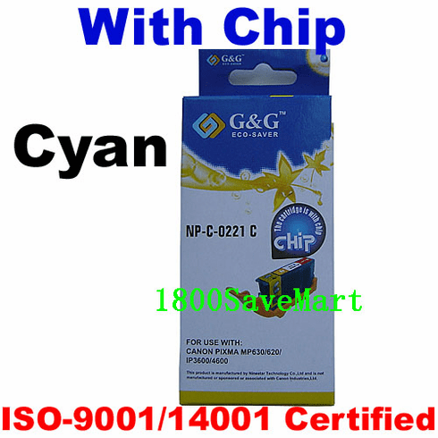 Premium Canon CLI-221C Compatible Cartridge - Cyan, with CHIP