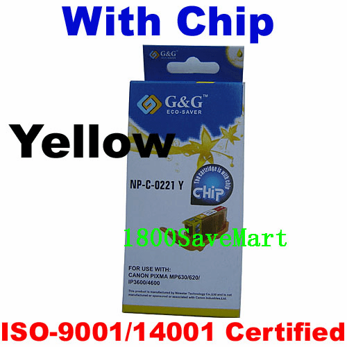 Premium Canon CLI-221Y Compatible Cartridge - Yellow, with CHIP
