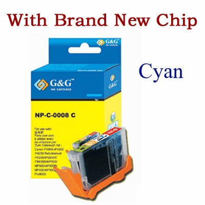 Premium Canon CLI-8C Compatible Cartridge - Cyan, with CHIP
