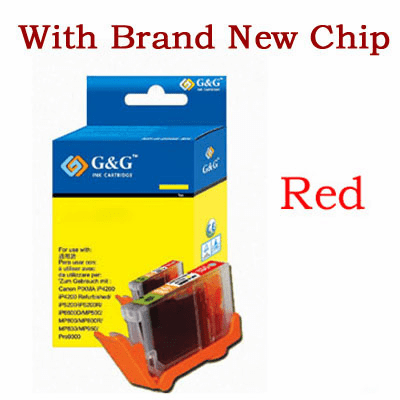 Premium Canon CLI-8R Compatible Cartridge - Red, with CHIP