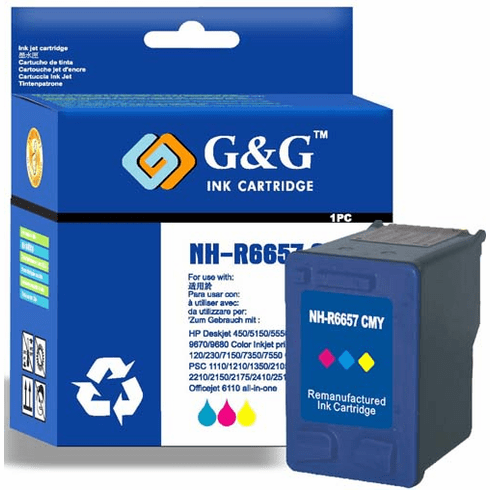 Premium Remanufacured Ink Cartridge HP C6657A C6657AN C6657 HP #57 HP 57 - 3 Color