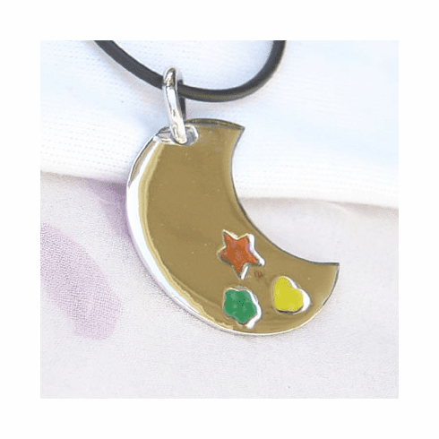 Pretty Inlay Moon MOP Sterling Silver Pendant