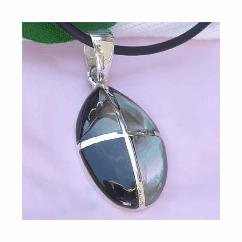 Pretty Inlay Shell Oval/Filigree Sterling Silver Pendant