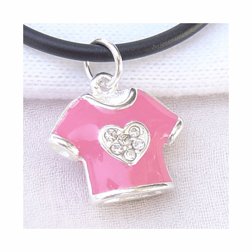 Pretty Pink Enamel cloth Sterling Silver Pendant