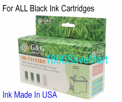 Refill Kits for ALL BLACK Inkjet Cartridges,  4 X 30ml, Buy 3 Get 1 Free, Buy 5 Get 2 Free
