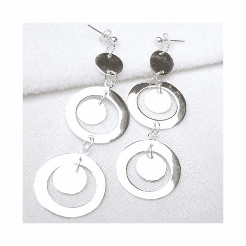 Shiny Oval/Round Multi-Link 925 Silver Earrings EJ194