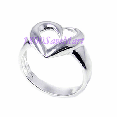 Simple Curvy Open Heart Sterling Silver Ring-8 RJ241