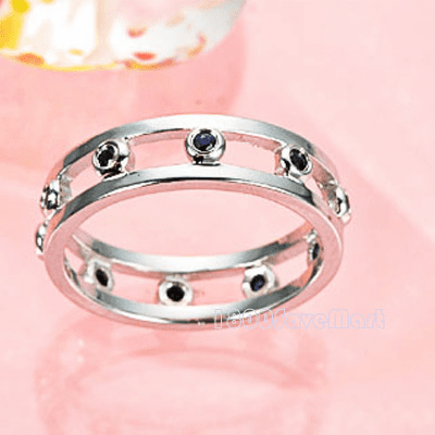 Simple CZ Inlay Sterling Silver Ring RYAA